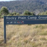 Welcome to Rocky Plain Camp ground sign on Hwy