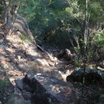 Steep and rocky section of track