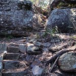 Steps through cleft in rock