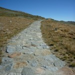 Stone pathway towards the summit of Mt Kosciuszko