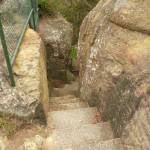 Step rocky steps on the Mt Sugarloaf summit, near Newcastle