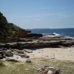 Looking back along the rockshelves at Shelley Beach