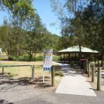 Sheltered picnic tables in Richley Reserve in Blackbutt Reserve